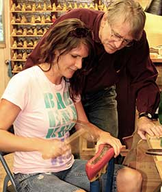 Shoemaking Student with instructor